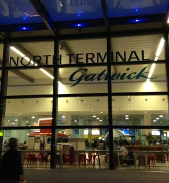 Gatwick north terminal entrance by night